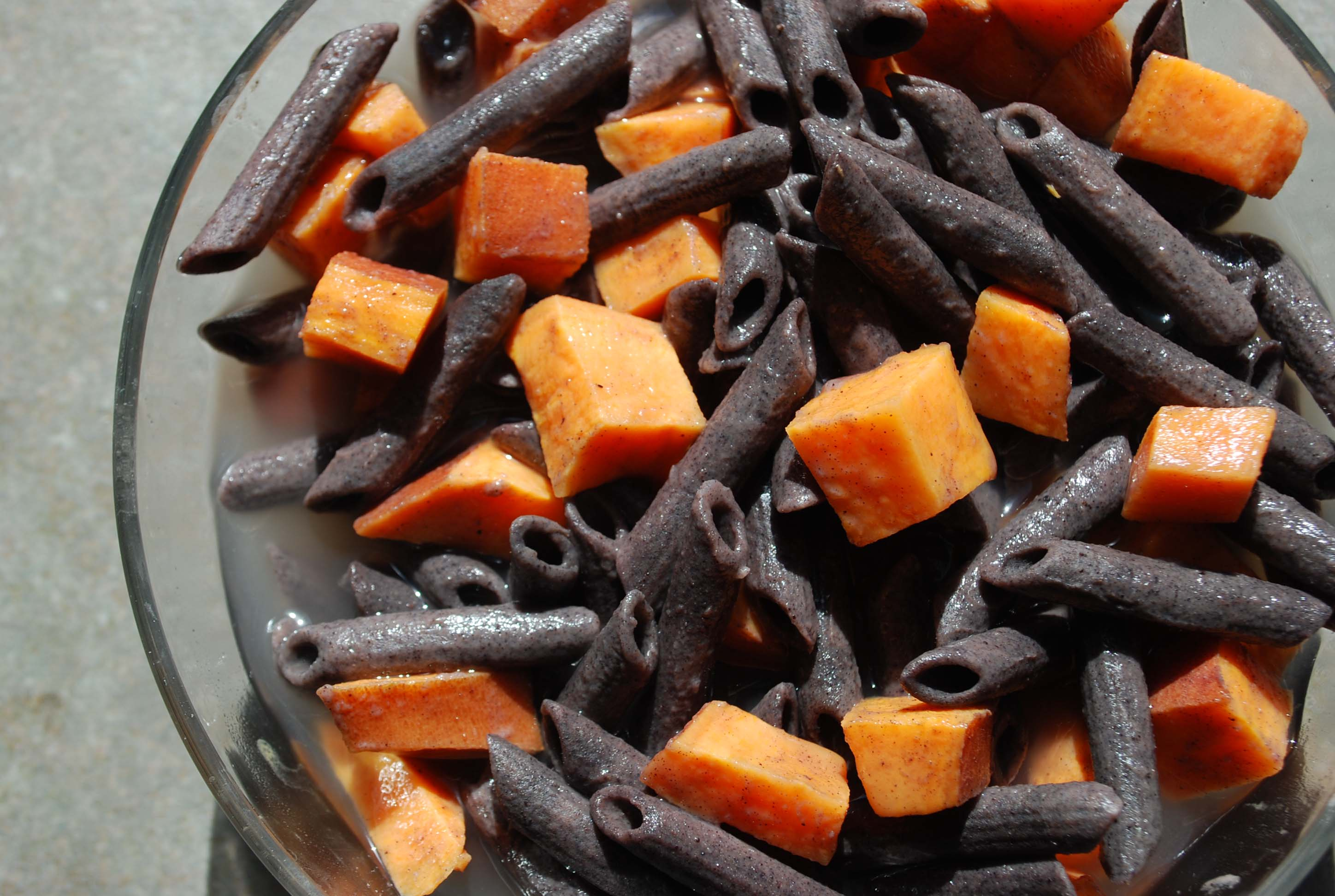 Black Bean Pasta with Sweet Potatoes